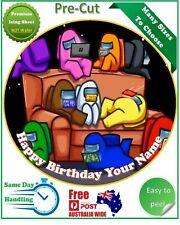 Among Us Game Icing Edible Birthday Cake Topper Round Image
