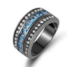 Black Gold Filled Wedding Engagement Ring Men's Fashion Size 7 Aquamarine 18K