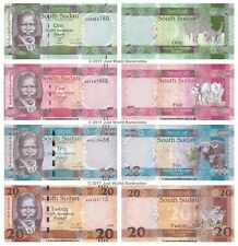 South Sudan 1 + 5 + 10 + 20 Pounds 2011-2015 Set of 4 Banknotes 4 PCS UNC