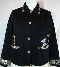 Onque Petites Black LS Cotton Knit Jacket w/Leopard Fur Trim Giraffe Zebra PM