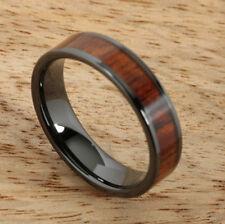 Black Ceramic Inlaid Koa Wood Ring, 6mm