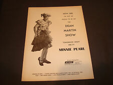 "MINNIE PEARL 1968 NBC-TV ad ""How-Dee. I'm proud to be on the Dean Martin Show."""