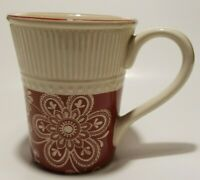 Pier 1 Ironstone Maribeth Cream Cranberry Burgundy Red Large Coffee Mug Cup