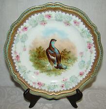 Antique O&EG Royal Austria Ornately Decorated Gold Gilt Bird Cabinet Plate # 1