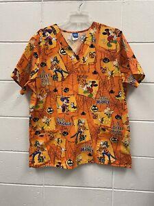 The Wonderful World of Disney Womens Sz L Mickey Mouse Goofy Halloween Scrub Top