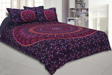 Indian Cotton Elephant Mandala Queen Size Bed Sheet With 2 Pillow Sham Bedspread