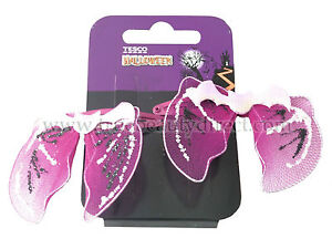 2 HALLOWEEN BAT WINGS HAIR SLIDES HAIRCLIPS ACCESSORIES GLITTER TRICK OR TREAT