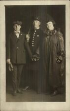 Halloween? Costumes Man as Police Cop Woman as Clown Real Photo Postcard dcn