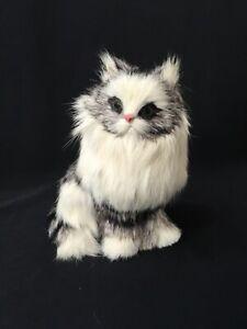 """VINTAGE BLACK WHITE REAL FUR KITTY CAT KITTEN TABBY 5"""""""