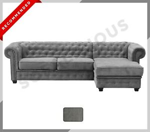 CHESTERFIELD Imperial Chaise CORNER SOFA in Fabric Dark Grey