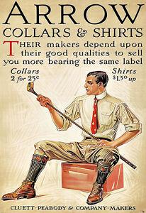 Art Ad Arrow Collars and Shirts 1912  Deco Poster Print