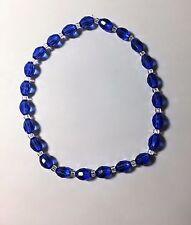 """Oval Blue Beads - 10"""" Celestial Crystal Stretch Ankle Bracelet -"""