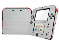 Matte Silver Metallic Effect for Nintendo 2DS decal skin Sticker cover wrap Set