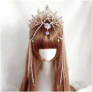 Baroque Women Crown with Long Beads Chain Party Show Wedding Headpiece