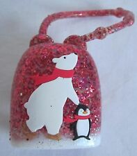 Bath & and Body Works PocketBac Holder Polar Bear Penguin Red Glitter New Design