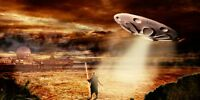 """perfect 36x24 oil painting handpainted on canvas""""UFO in the sky""""NO675"""