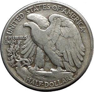 1945 WALKING LIBERTY Half Dollar Bald Eagle United States Silver Coin i45145
