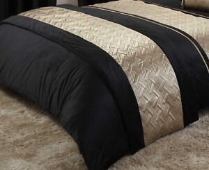 Quilted Bed Runner Luxury Embellished Bed Throw 60 x 240cm Capri Black Gold New