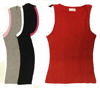 New Ladies Girls Cotton Ribbed Sleeveless Stretch Casual Vest Cami Tank Top