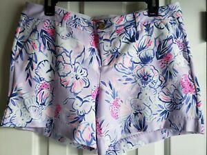 """Lilly Pulitzer Women 5"""" Callahan Knit Short Light Lilac Trunks In The Air 10 NWT"""
