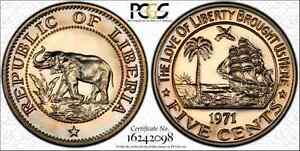 LIBERIA 1971 NICKEL 5 CENT PCGS PR67 DEEP CAMEO FINEST KNOWN TOP POP TONED GOLD