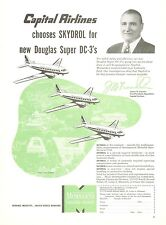 1950 Monsanto Skydrol Ad Capital Airlines New Douglas Super DC-3 Aviation