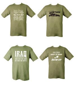 Mens Military British Army Combat T-Shirt Vietnam Iraq Jeep Willys Brew Up Tea
