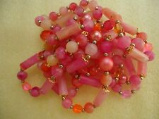 Vtg Costume Long Necklace W/Multi Color Plastic And Gold Tone Seed Beads  #36.