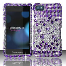 For BlackBerry Z10 Crystal Diamond BLING Hard Case Phone Cover Purple Silver