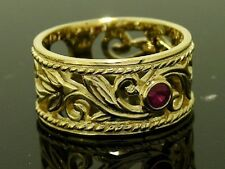 R067- Thick & WIDE 9ct Heavy Solid Gold Filigree Leaves NATURAL Ruby Ring size P