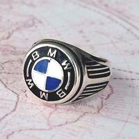 BMW Solid 925 K Sterling Silver  Mens Ring Gemstone
