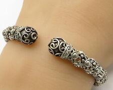 925 Silver - Vintage Swirled Floral Design Hinged Cuff Bracelet - B2633