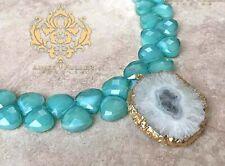 Druse Cristal 24K Pendentif Or Mer Mousse Vert Teal Tchèque Verre Collier Bijoux