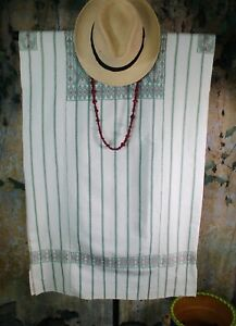 M/L Huipil Short Striped Dress Handwoven Backstrap Loom Mayan Chiapas Mexico