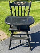 """Vintage Jenny Lind Style Baby Wooden High Chair Highchair 38"""" Height Eagle Decal"""