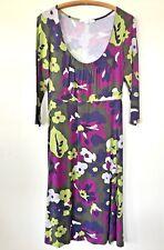 Boden Dress Sz 8L Purple Green Sleeve Stretch Womens Floral Print Long Tall