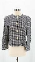 Lauren RALPH LAUREN Womens Black White Houndstooth Cropped Blazer Jacket Sz 10