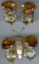 ALICE CAVINESS VINTAGE FACETED GLASS RHINESTONE BUTTERFLY PIN & EARRINGS SET *