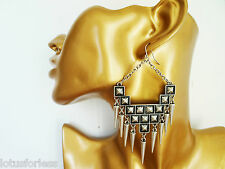 Sexy Spike Dangle Drop Chain Earrings Antiqued Silver Look 10 cms