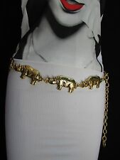 Women Trendy Gold Rhino Metal Chain Figures Skinny Belt Size XS S M