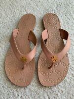 Tory Burch Thora Flip Flops Sandals Womens 7 M Embossed Leather Beige / Tan