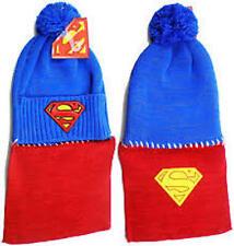 Superman Beanie Hat Cosplay Superhero Cape Pom Knit Cap Adult Size
