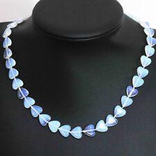 12mm fashion Lanka white moonstone opal heart beads women chain necklace JN939