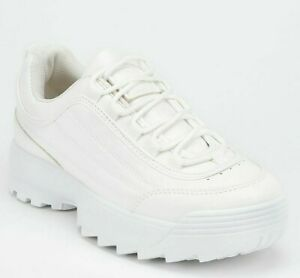 WOMENS TRAINERS CHUNKY WHITE RETRO PUNK PLATFORM SNEAKERS SHOES SIZE UK 3-8