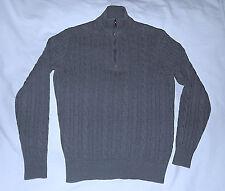 Loro Piana -100% Pure Baby Cashmere Cable Knit Zip Sweater-Size 52/42 Usa-Gray.