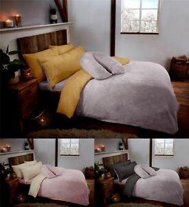 Reversible Teddy Fleece Fur Soft Cosy Duvet Quilt Cover Set Inc Pillowcases