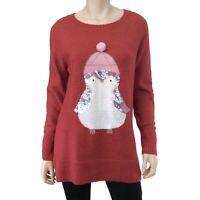 LC Lauren Conrad Women's Orange Multi Penguin Sweater Size L NWT