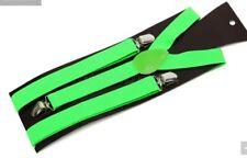 Bretelles Elastique Vertes Adulte Enfant - Green Suspenders Verde Tirantes Vert