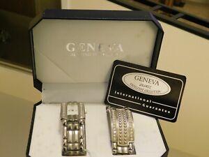 Ladies Geneva Stainless Watch and Bracelet Set