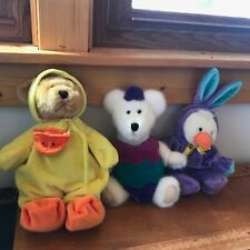 Estate Lot of Boyd's White Bear in Easter Egg Costume & Tan Plush Bear in Duck